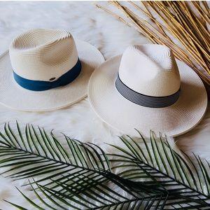 Accessories - RILEY- White Straw Wide-Brim Fedora
